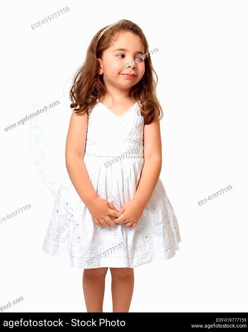 Little white angel looking sideways