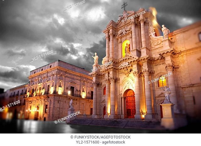 The Baroque Duomo cathedral , Syracuse  Siracusa , Sicily
