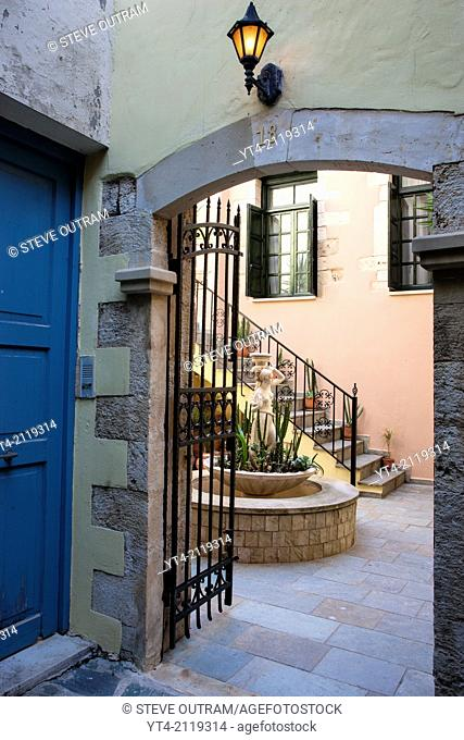 Entrance and Courtyard, Venetian Town House, Chania, Crete, Greece