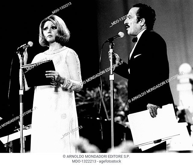 Sylva Koscina and Nino Taranto at the Napoli Festival. Croatian-born Italian actress Sylva Koscina and Italian actor Nino Taranto are on the stage at the Napoli...