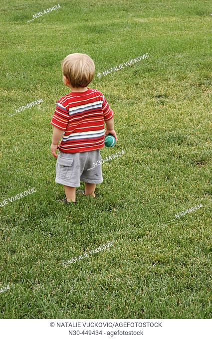 Back view of little boy with ball