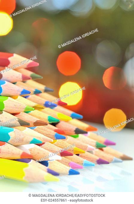 abstract christmas tree pencils and lights
