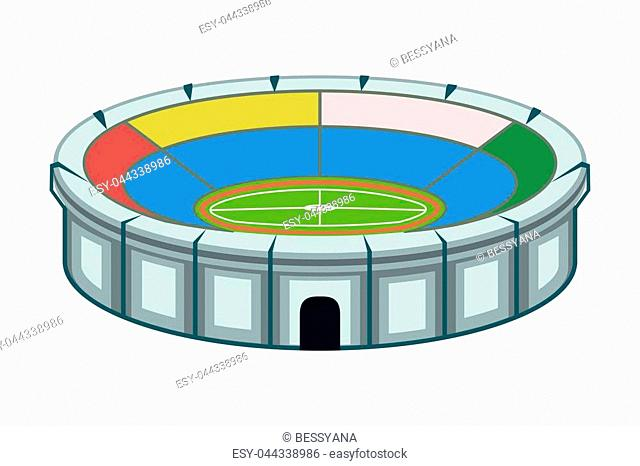 Colorful cartoon stadium. Sport theme vector illustration for icon, sticker sign, patch, certificate badge, gift card, stamp logo, label, poster, web banner