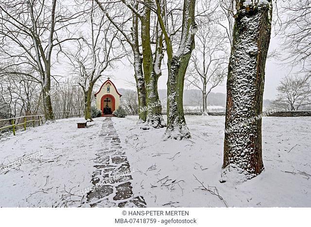 Lambertus chapel at Ayl in winter, Saartal, Trier-Saarburg district, Rhineland-Palatinate, Germany