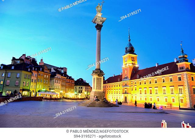 Royal palace or castle and Sigismund column of Warsaw, Poland