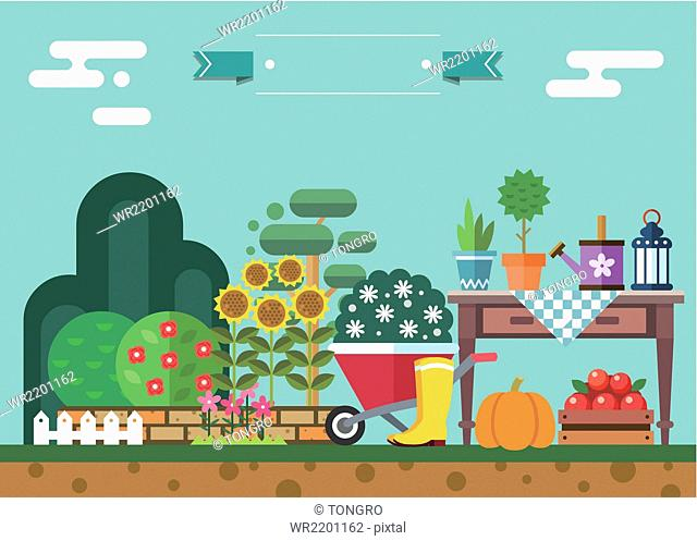 Various objects for gardening with flowers and plants in summer