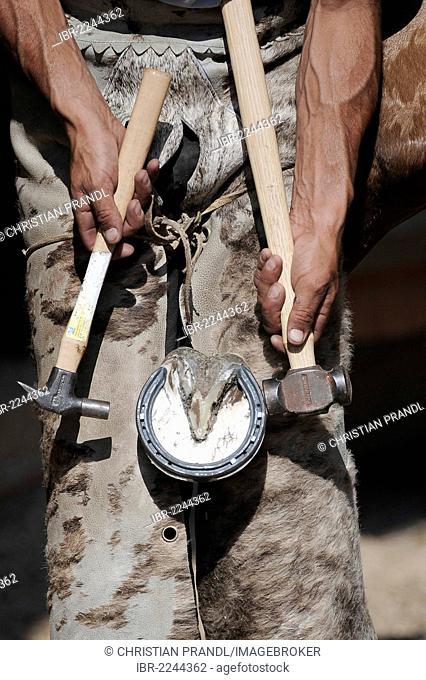 A blacksmith setting up a horseshoe