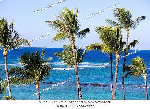 Beautiful Mauna Lani Bay on the Big Island of Hawaii on a very nice, warm day in tropical paradise