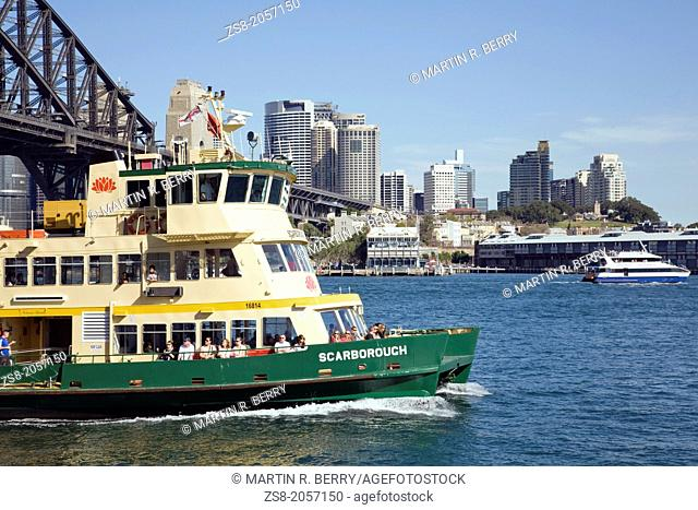 ferry travelling on sydney harbour,australia