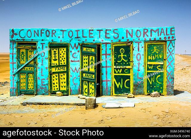 Toilets in Chott el Djerid salt lake. Tunisia, Africa