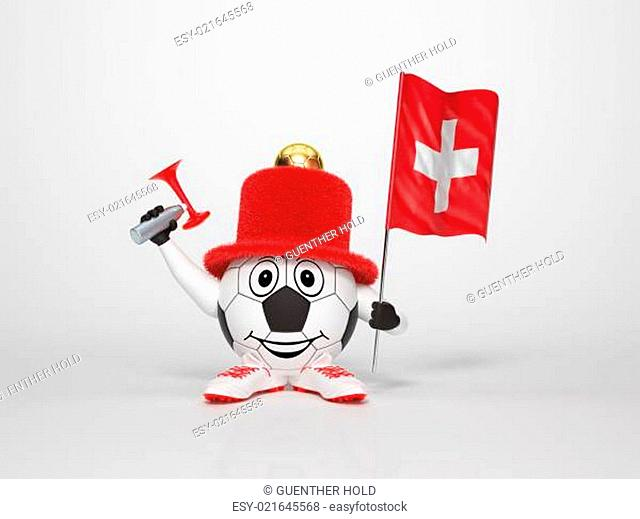 Soccer character fan supporting Switzerland