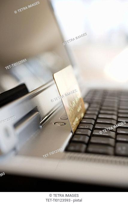 Close up of credit card on laptop