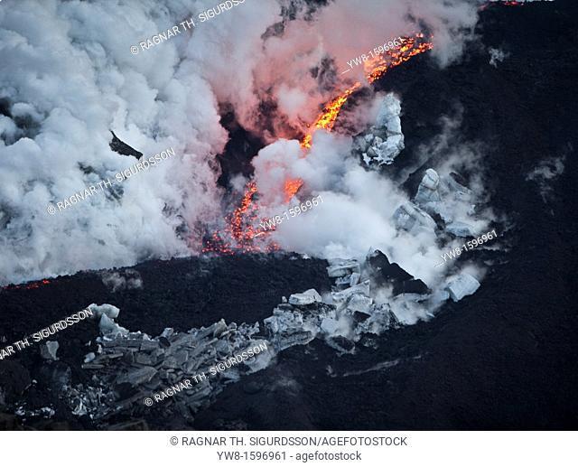 Lava flow-Volcano eruption at Fimmvorduhals, a ridge between Eyjafjallajokull glacier, and Myrdalsjokull, Iceland 2010