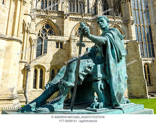 Statue of Roman Emperor Constantine the Great outside York Minster. North Yorkshire. England. UK
