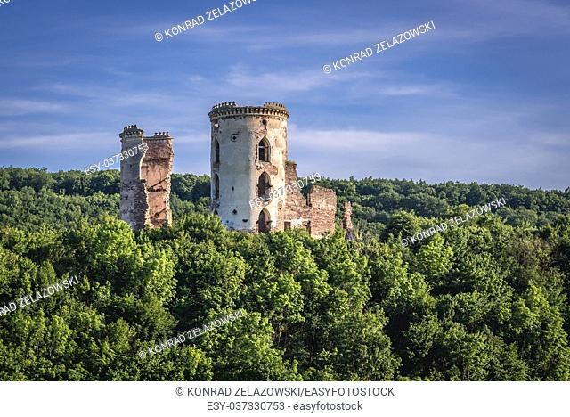 Ruins of Polish castle in former Chervonohorod town (also called Chervone) in Zalischyky Raion, Ternopil Oblast of western Ukraine