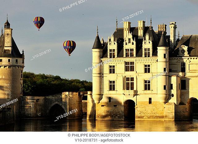 France, Indre et Loire, Loire Valley, castle of Chenonceau, built between 1513 - 1521 in Renaissance style, over the Cher river,