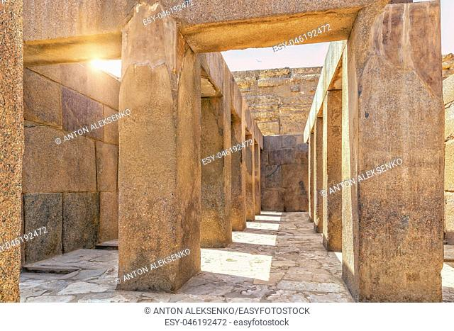 Giza Temple near the Great Sphinx, view from inside, Egypt