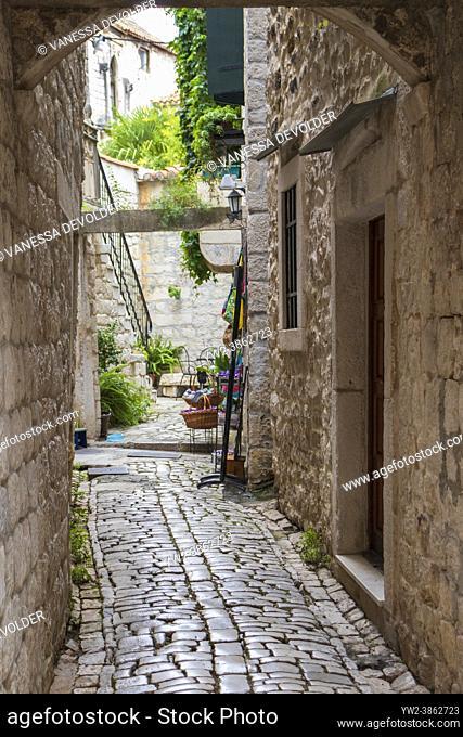 Streetview with old typical houses in Trogir, Split-Dalmatia, Croatia, Europe