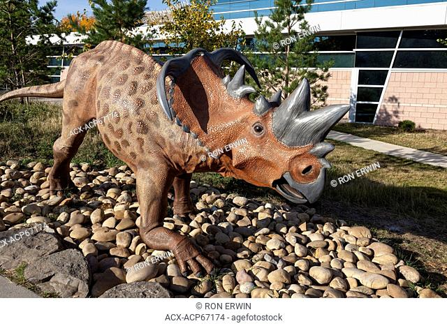 Pachyrhinosaurus dinosaur sculptures or models outside the Royal Tyrrell Museum north of Drumheller in Midland Provincial Park, Alberta, Canada
