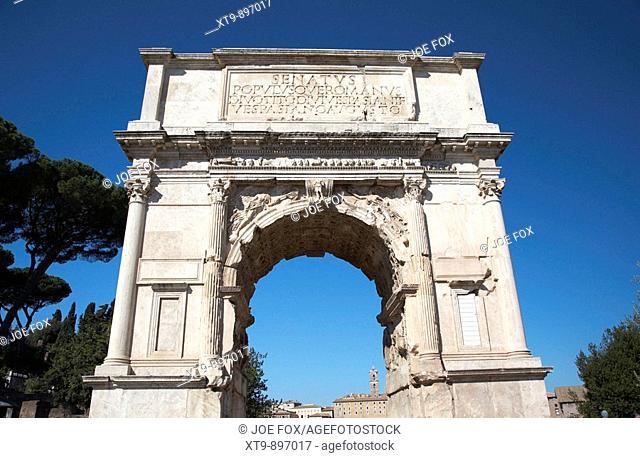 Arch of Titus on the Via Sacra part of the Imperial Roman Forum Rome Lazio Italy