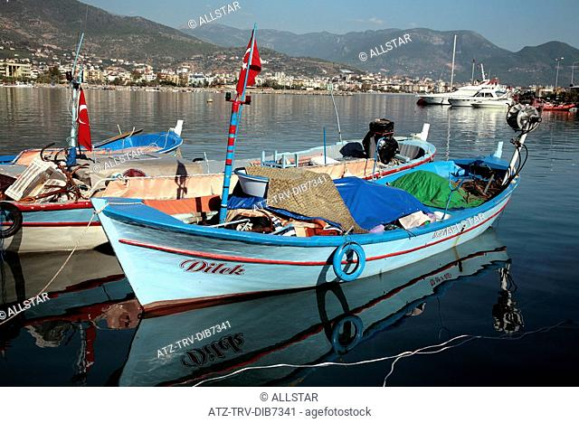 BOAT REFLECTIONS ALANYA HARBOUR; ALANYA, TURKEY; 17/11/2007
