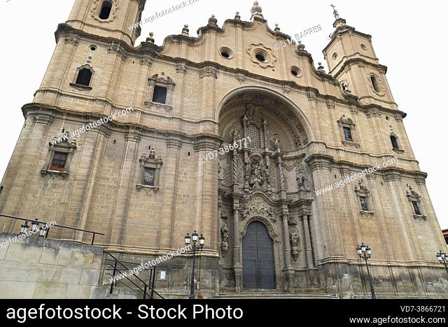 Alcaniz, Santa Maria la Mayor church (XIII-XVIII century). Baroque facade (XVIII century). Bajo Aragon; Teruel, Aragon, Spain