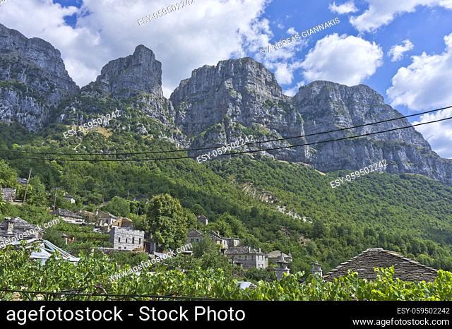 Vikos Gorge seen from Papingo Old stone village, Epirus, Greece, Europe