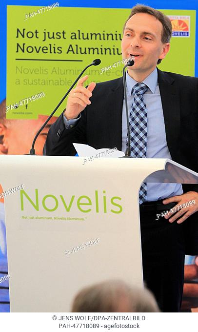 President of the US company Novalis Europe, Erwin Mayr, speaks at the ceremony of the official first cut of the spade at Novalis Deutschland GmbH in...