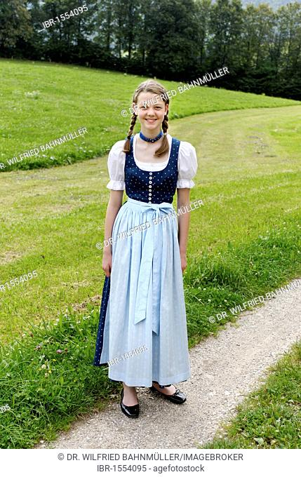 Young girl with Dirndl bavarian traditional costume