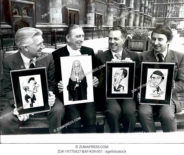 Apr. 27, 1977 - SEEING DOUBLE AT THE HOUSE OF COMMONS. Seeing double at the House of Commons yesterday when the speaker (second from left) presented original...