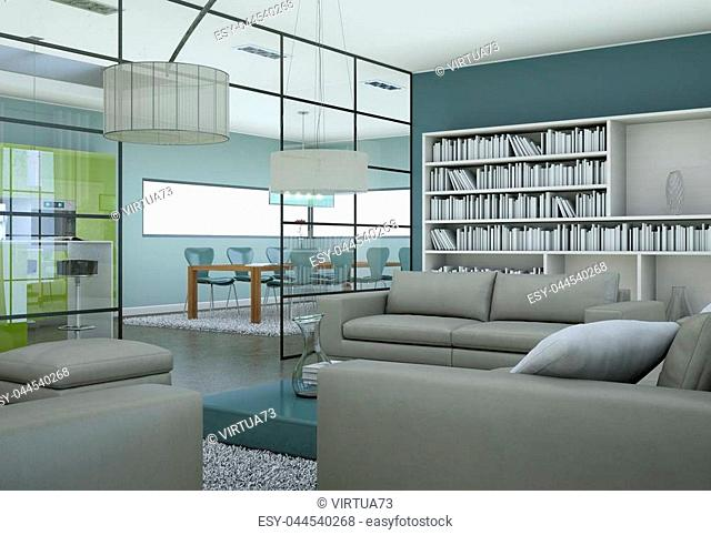 Modern minimalist living room interior in loft design style with sofas 3d Rendering