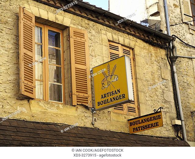 bakery signs, Le Bugue, Dordogne Department, Nouvelle Aquitaine, France