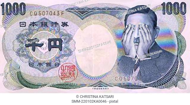 Asian money with political figure's hands covering eyes