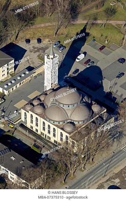 Aerial photo, DITIB-Merkez Mosque, Germany's largest mosque, Duisburg, Duisburg-Nord, Ruhr area, North Rhine-Westphalia, Germany, Europe