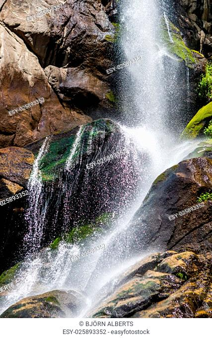 Grizzly Falls is probably the most attractive waterfall on a typical tour into the Cedar Grove section of Sequoia National Forest near Kings Canyon National...
