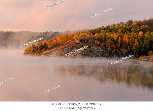Simon Lake with morning fog, Greater Sudbury Naughton, Ontario, Canada