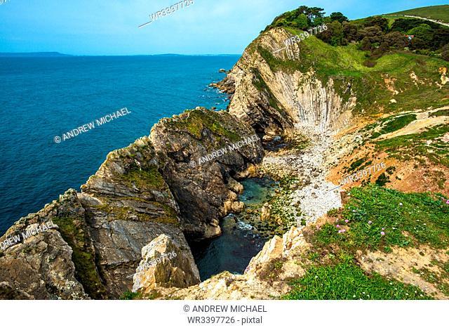Stair Hole at Lulworth Cove on Dorset's Jurassic Coast, UNESCO World Heritage Site, Dorset, England, United Kingdom, Europe