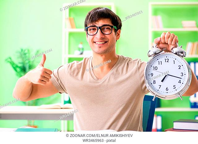 Student preparing for university exams