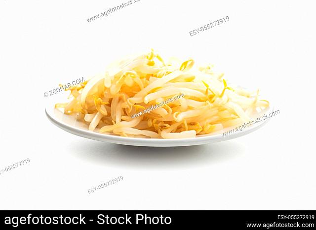 Preserved mung sprout on plate isolated on white background