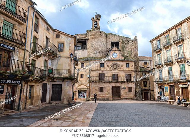 Main square of Sepulveda town in Province of Segovia, Castile and Leon autonomous community in Spain, view with former castle of Fernan Gonzalez