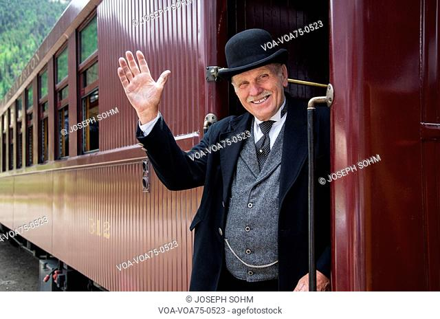 Reenactor for William Jackson General Palmer, Durango and Silverton Narrow Gauge Railroad, Colorado, USA