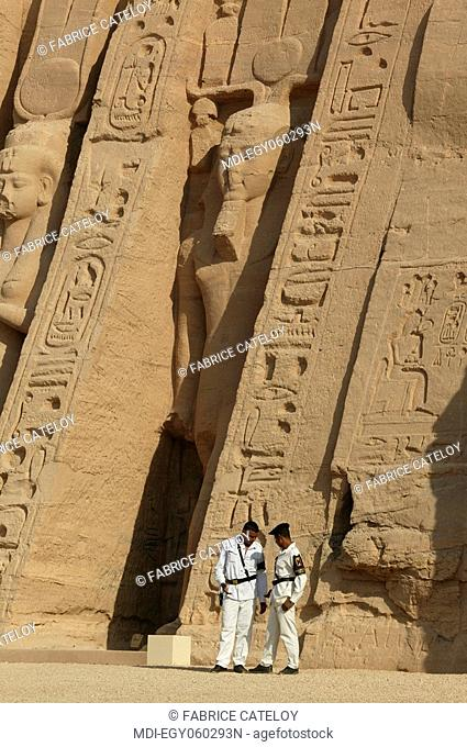 The Temple of Nefertari dedicated to Hathor - Policemen in front of the temple
