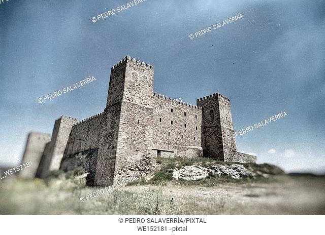 Siguenza Castle, of Arab origin was built in the 12th century is now Parador Nacional de Turismo, Guadalajara, Castilla La Mancha, Spain
