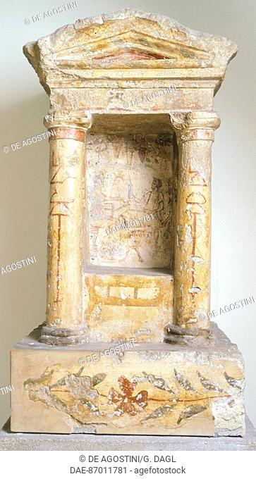 Polychrome funerary niche with religious symbols of Goddess Tanit, from Lilibeo (Sicily). Phoenician civilization, 1st Century BC