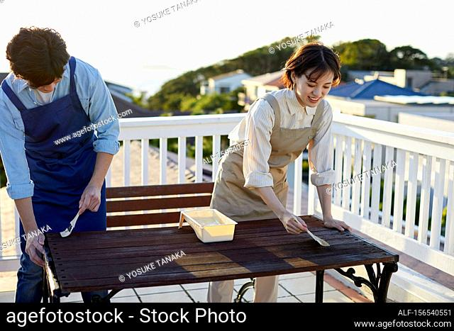 Japanese friends working in the garden