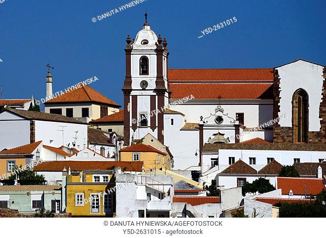 panorama of historic city of Silves showing Cathedral and old town, Algarve, Portugal, Europe