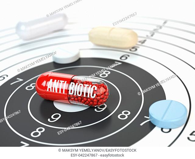 Pills on target and antibiotic in the center. Scientific research or best prescription medication concept. 3d illustration