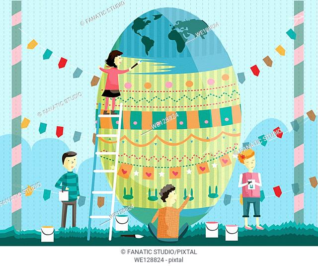 Illustration of siblings painting Easter egg