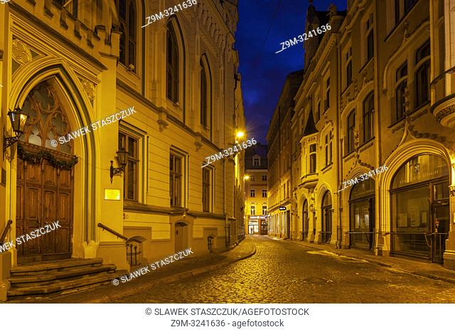 Evening in Riga old town, Latvia