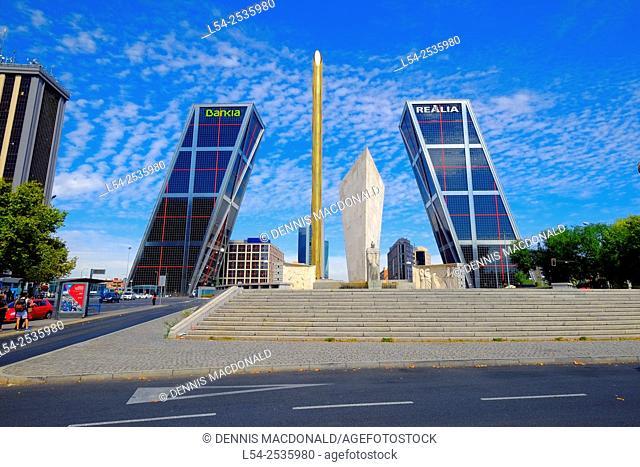 Gateway of Europe Leaning Towers Madrid Spain ES